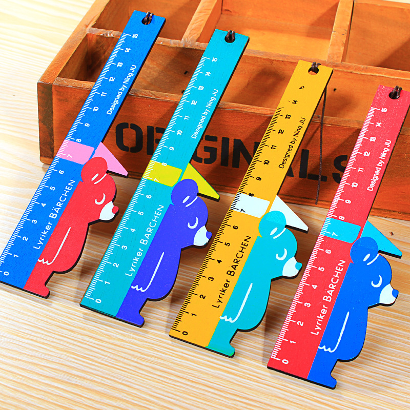 Coloffice Creative Bear Modeling Wooden Ruler Candy Color 4 Style Random 15cm Student School Stationery Office School Supplies