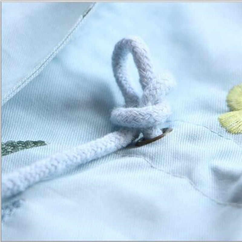 Весенне-осеннее пальто-ветровка для девочек, верхняя одежда с капюшоном и цветочной вышивкой для маленьких детей, розовая и синяя куртка, пальто, QC952