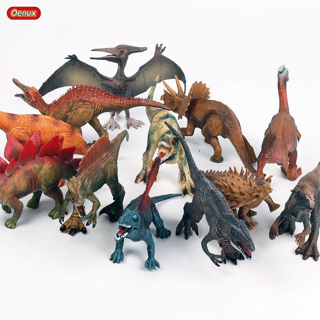 Oenux 12 pçs/set Clássico Figura de Ação Pequeno T-Rex Dinossauro Pterodáctilo Dinossauro do Jurássico PVC Coleção Toy Modelo de Alta Qualidade