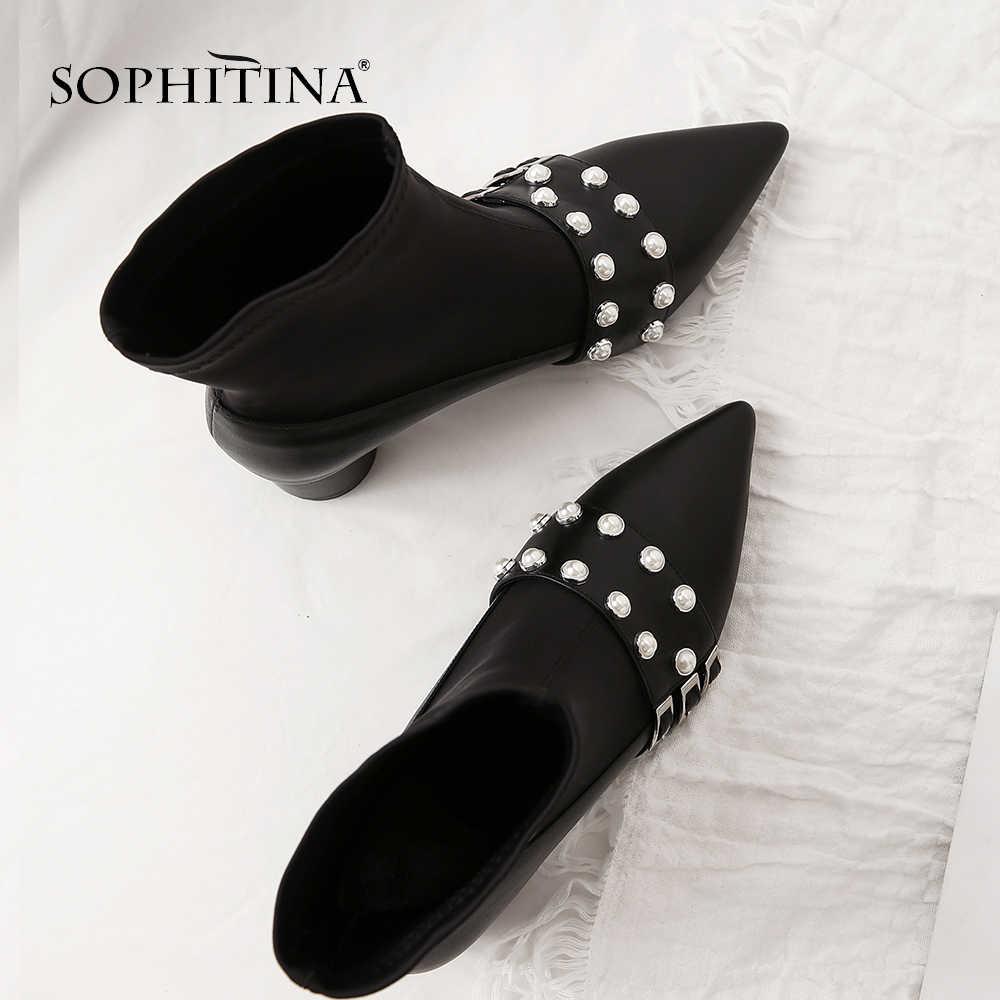 SOPHITINA Moda Hakiki Deri Bayan Botları Kış Slip-On Yüksek Topuk Ayakkabı Rahat Temel Sığ Kare Topuk Kadın Botları MO218