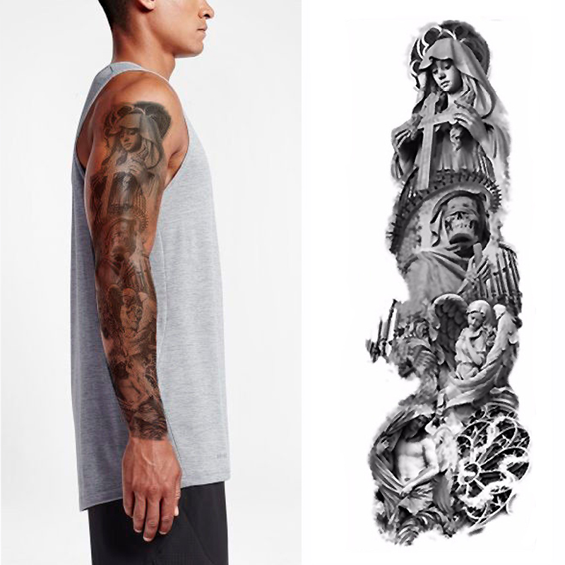 1pcs Christian Jesus Full Flower Arm Temporary Tattoo Sticker Body Paint Water Transfer Fake Tatoo Sleeve