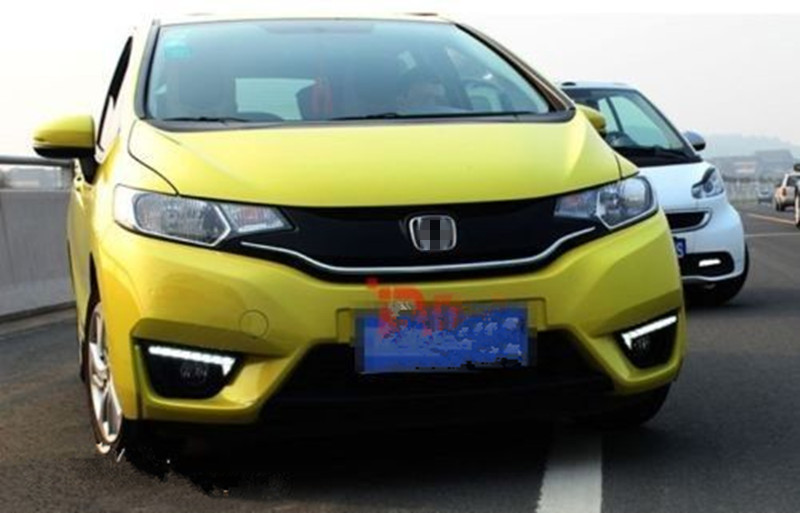 LED Daylight For Honda Jazz Fit 2014 2015 2016 LED Car DRL Daytime Running Lights Fog Lamp With Yellow Turn Signal Function 2pcs led white yellow daytime running lights drl for honda fit jazz 2014 2015