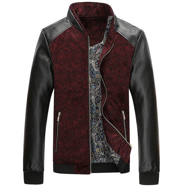 The fall of new men's PU leather coat jacket slim leather collar young men