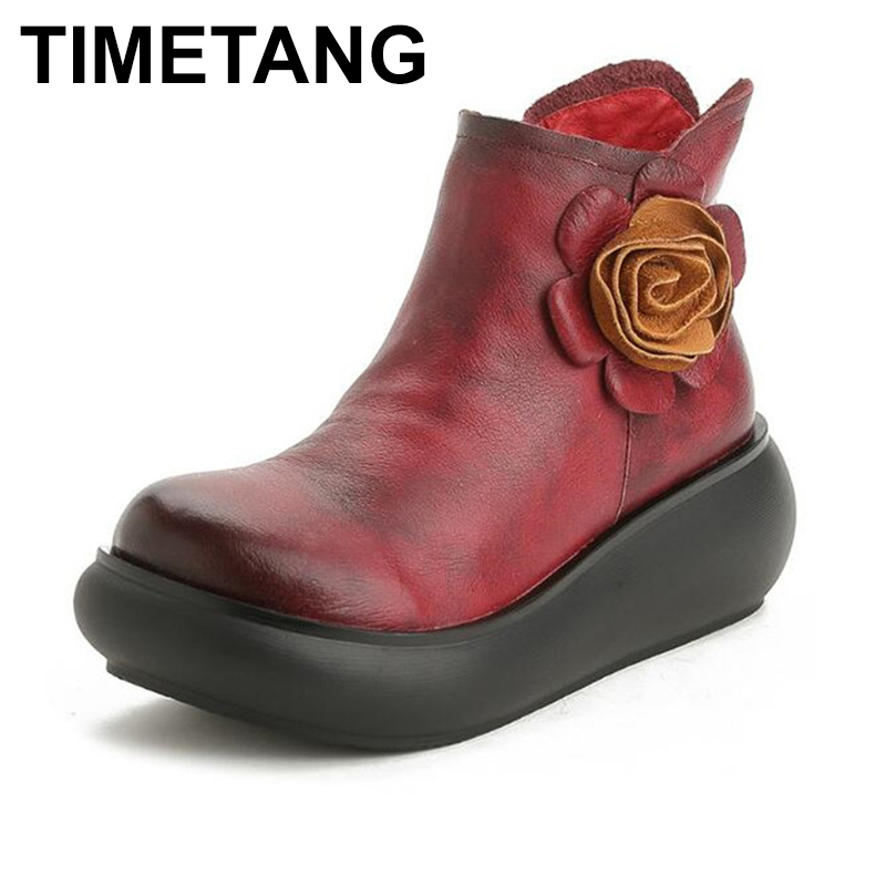 TIMETANG Brand Shoes Original Handmade Genuine Leather Shoes Women Boots 2018 New Autumn Winter Flower Fashion Boots Wedges ShoeTIMETANG Brand Shoes Original Handmade Genuine Leather Shoes Women Boots 2018 New Autumn Winter Flower Fashion Boots Wedges Shoe