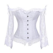 2cd6aeef9 Corsé nupcial Tops para mujer con mangas estilo victoriano Burlesque Retro  encaje y corsés corsé Chaleco de boda blanco de moda
