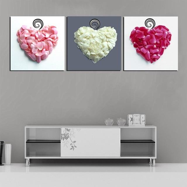 3 Panel Del Amor Del Corazón de Pétalos de Flores de Arte Fotos ...