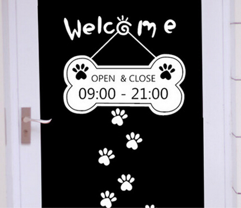 Lovely Cust Welcome Custom Business Time Open Close Hours Sticker - Custom business stickers