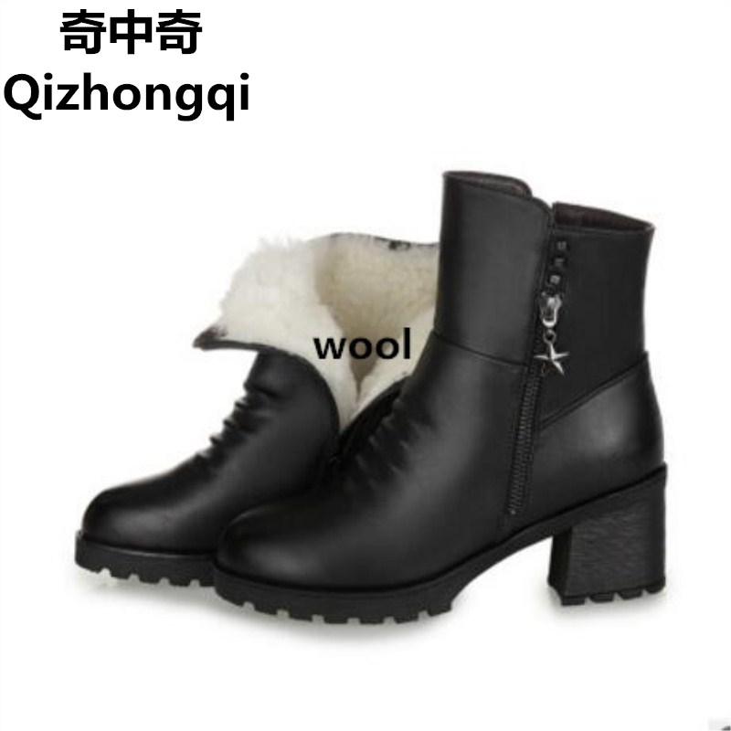 Women's boots, wool liner 2017 winter women Genuine Leather boots thick with big size # 35-43, thick winter boots, free shipping цены онлайн