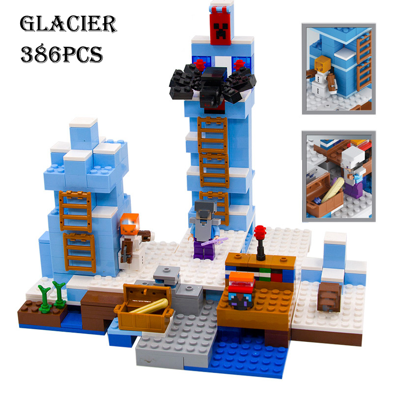 Model building kits compatible with lego 21131 18025 my worlds MineCraft The ice spikes Educational font