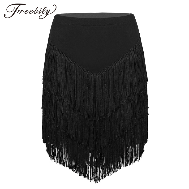 New Women Elastic Waist Fringe Tassels Asymmetric Latin Dance Skirt  Ladies Tango Rumba Ballroom Dancewear With Built-in Shorts