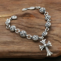 Real Solid 925 Sterling Silver Chain Bracelet Engraved with Star Cross Hanging Charms Korean Fine Jewelry