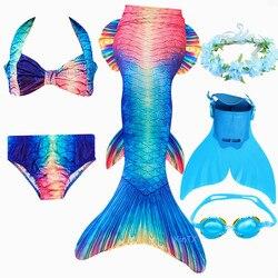 2019 novo! crianças sereia cauda com monofin crianças meninas trajes de natação sereia cauda sereia maiô flipper para meninas