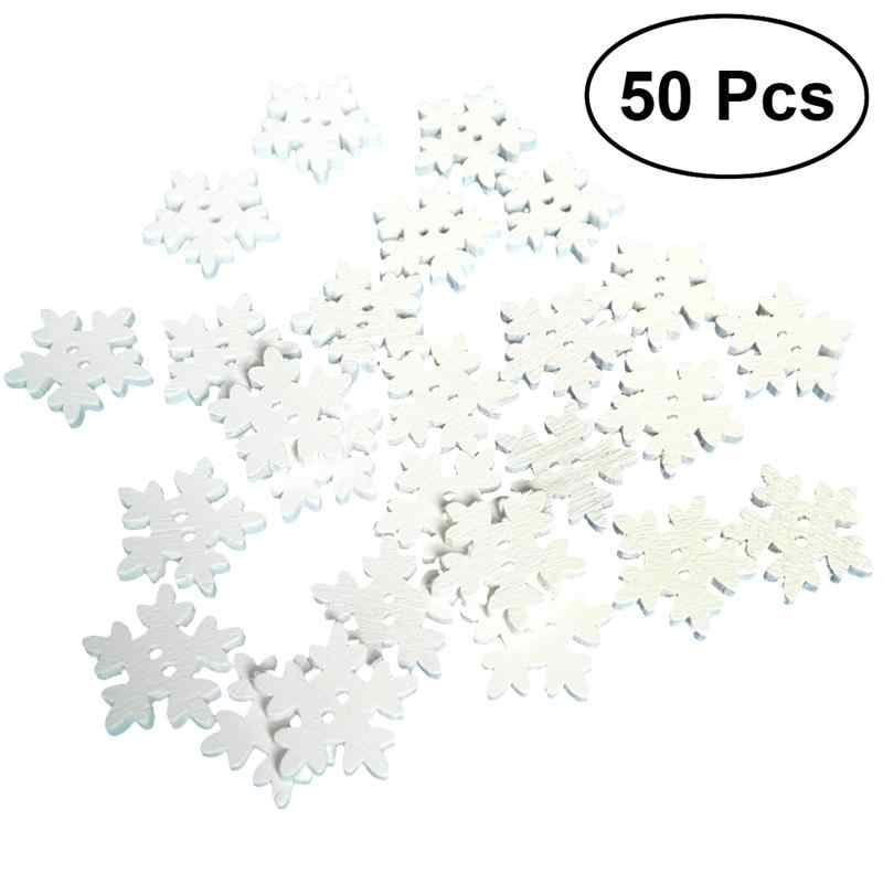 50pcs 18mm Wooden Christmas Snowflakes Buttons DIY Wood Snowflakes Embellishments Flatback Plating DIY Clothing Sewing Supplies