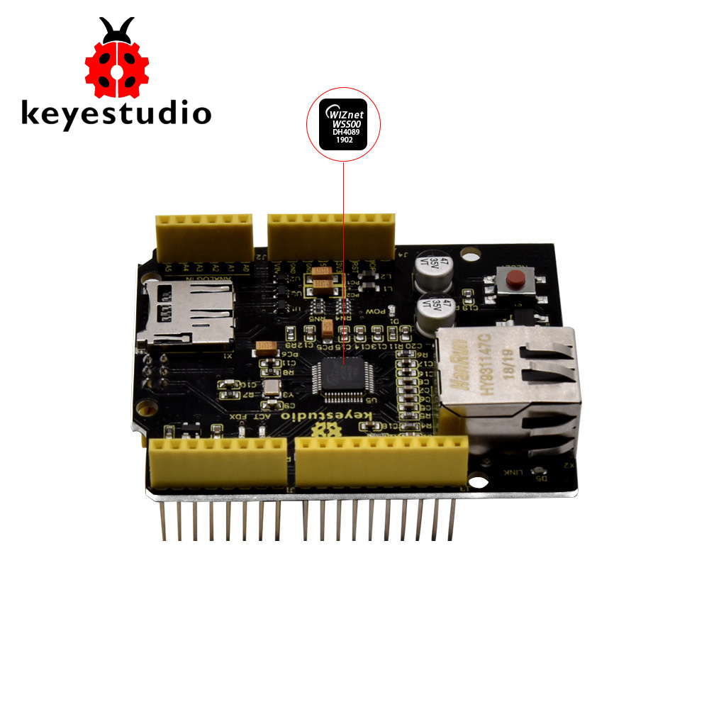 Keyestudio W5500 Ethernet Shield Ethernet Control Expansion Board For Arduino UNOR3 /Mega 2560(Without POE)