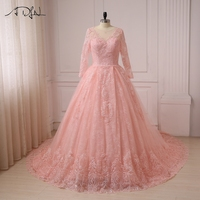 ADLN Real Photos Pink Ball Gown Arabic Wedding Dresses Vestido De Noiva Long Sleeve Lace Robe