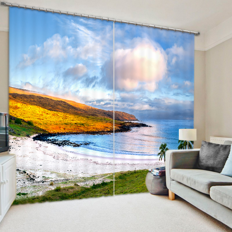 Peace Beach Bedroom Living Room Kitchen Home Textile Luxury 3D Window  Curtains Gift For Family(