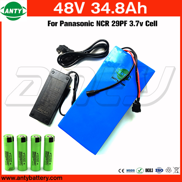 High Capacity Electric Bicycle Battery 48v 34.8Ah For Panasonic 18650 Cells Lithium Battery 48v with 2A Charger Free Shipping free customs taxes super power 1000w 48v li ion battery pack with 30a bms 48v 15ah lithium battery pack for panasonic cell