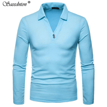 Polo Shirt For Men 2019 New Summer Brand Design V Collar Cotton Long Sleeve Turn-down Collar Polo Shirts Camisa Polo Masculina