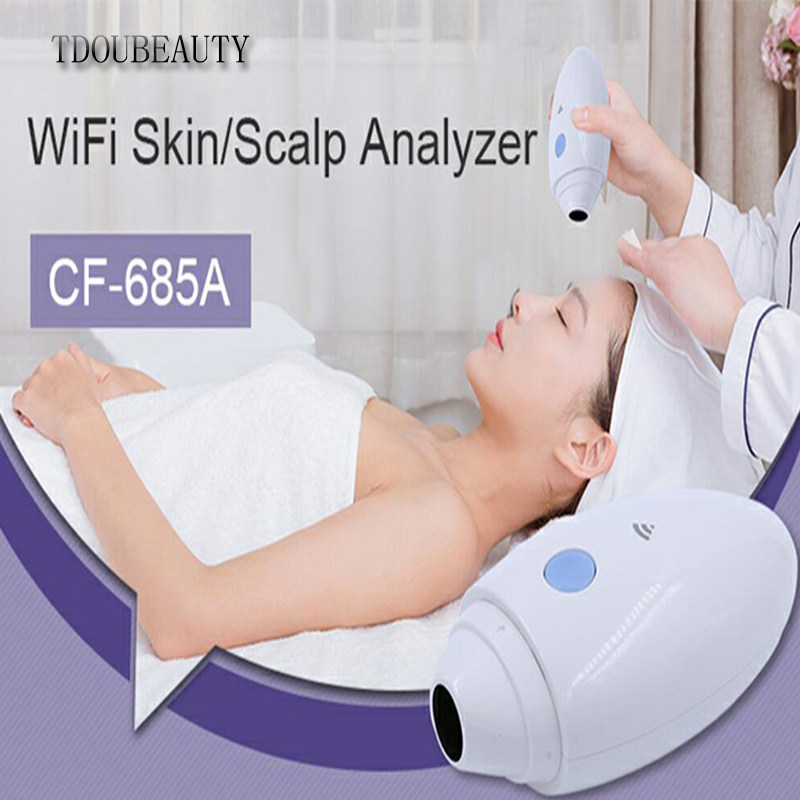 TDOUBEAUTY 2018 New CF-685A Ultra HD High-tech Wifi Scalp Hair Microscope Analyzer Skin Detector Analyzer Camera Free Shipping