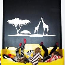 цена на Art design cheap home decoration PVC giraffe wall sticker waterproof vinyl house decor animal decals in kids room kindergarten