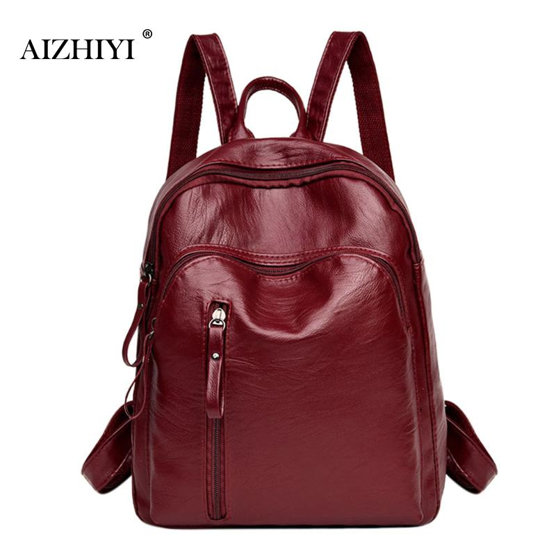 все цены на Fashion Leisure Women Zipper Backpacks PU Leather Solid Travel Backpacks Female School Shoulder Bags for Teenage Girls Backpack