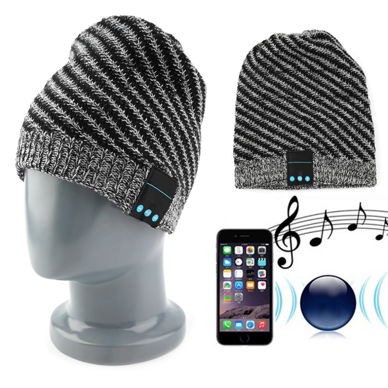 Autumn Winter Warm Wireless Bluetooth Headphone Smart Cap Knitted Wool Beanie Hat Women Men Headset with Mic for iPhone xiaomi women s winter beanie hat wool knitted cap shining rhinestone beanie mink fur pompom hats for women