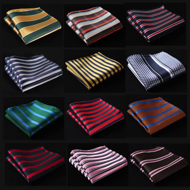 SC Stripe Men Silk Satin Pocket Square Hanky Jacquard Woven Classic Wedding Party Handkerchief