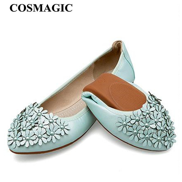 32f1174a19 COSMAGIC 2018 New Women Flower Ballet Flats Shoe White Black Gold Silver  Pink Slip on Fashion Pointed Toe Folding Shoe Plus Size