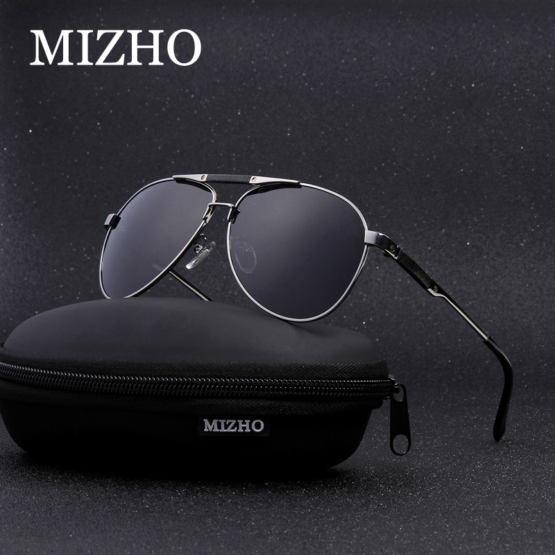 MIZHO Brand Travel Pilot Polarized Sunglasses Men Night UV400 Stainless Steel IP Vacuum Plating Sun glasses Eyewear With Box