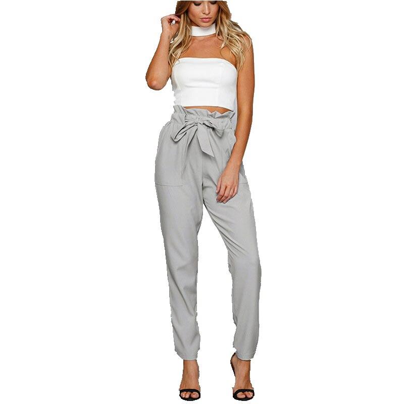 New Women High Waist Elastic Harem   Pants   Casual Chffion OL Lady Solid Pencil Trouser