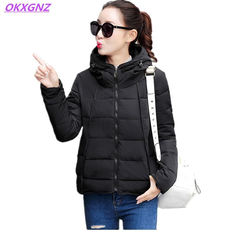 ФОТО OKXGNZ Women Basic Coats Winter Short Coat Cotton-padded Clothes Coat Jacket Women 2017Korea Fashion Warm Costume Plus Size AH23