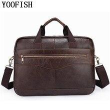 YOOFISH  Genuine Leather Casual Men Bags Man Crossbody Shoulder Handbag Men Messenger Bags Male Briefcase Travel Bag  LJ828 цена