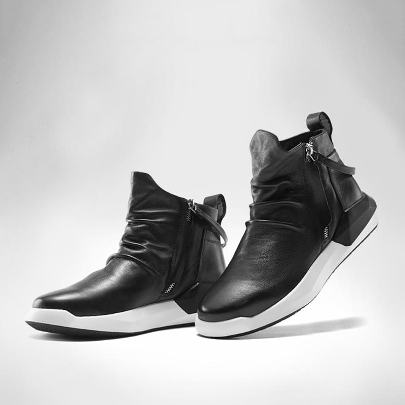 Plein Cuir Noir Boot De Mode Zipper Réel Chaussures Courir Delivr Air Hommes Sneakers Bottes Véritable Pour Appartements En K31TFclJ