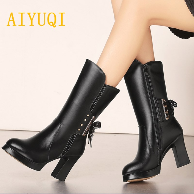 AIYUQI Size 34 women snow boots 2019 winter new style leather women 39 s boots thick warm wool liner motorcycle boots women in Mid Calf Boots from Shoes