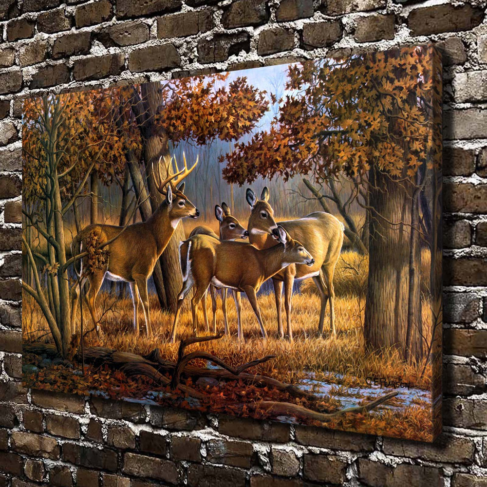 A0383 natural scenery deer forest animals hd canvas print for Deer scenery
