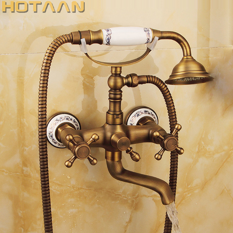 Free shipping Bathroom Bath Wall Mounted Hand Held Antique Brass Shower Head Kit Shower Faucet Sets