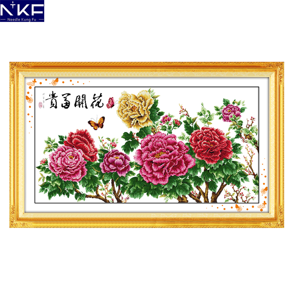 NKF Fortune Comes with Blooming Flowers Chinese Flowers Needlework Cross Stitch Kits for Embroidery Home Decor