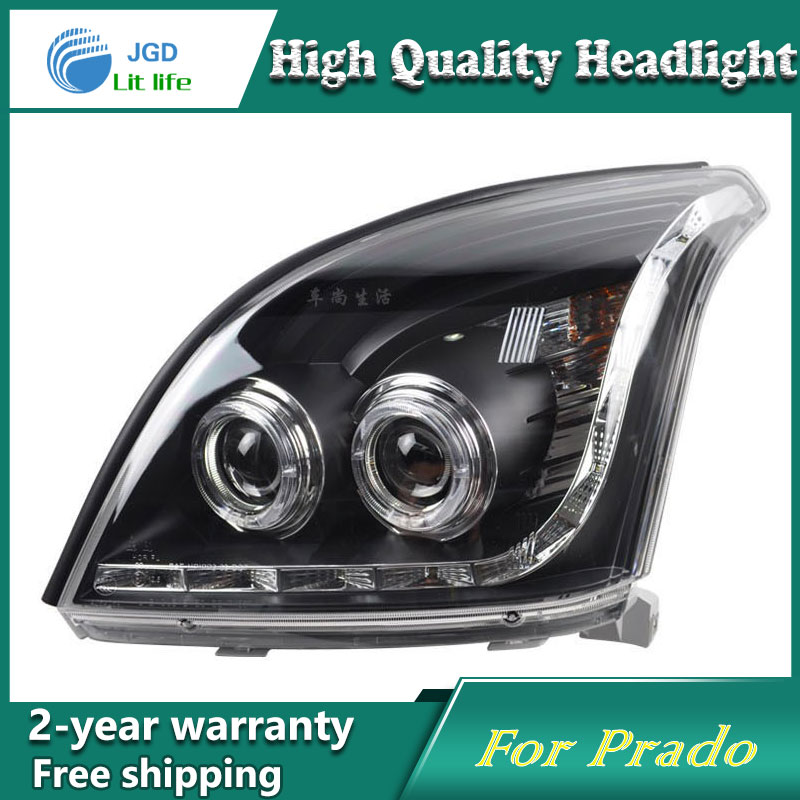 high quality Car Styling for Toyota Prado 2003-2009 Headlights LED Headlight DRL Lens Double Beam HID Xenon Car Accessories hireno headlamp for 2003 2009 toyota land cruiser prado headlight assembly led drl angel lens double beam hid xenon 2pcs