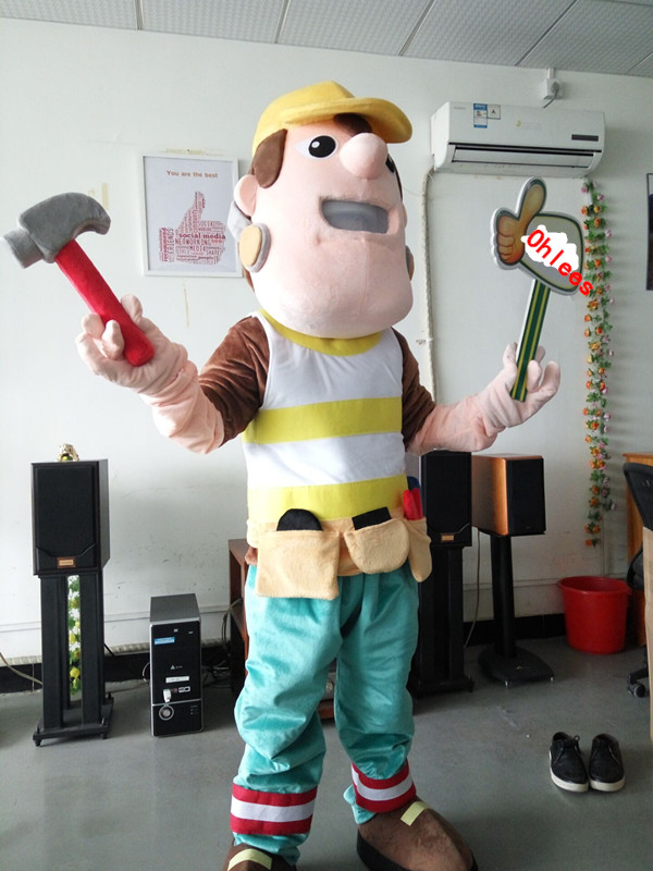 ohlees Construction Guy timberjack cartoon character Mascot Costumes Halloween Christmas Birthday Party Real Pictures