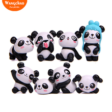 8pcs/lot Kawaii Resin Panda Kids Happy Birthday Party Supplies Home DIY Decoration Room Table Garden Decora Photo Props