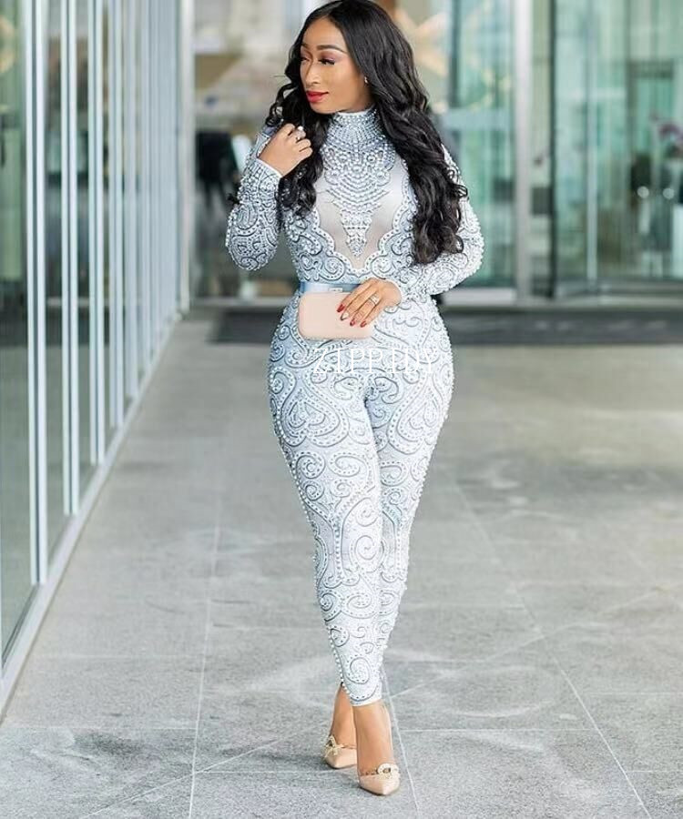 Fashion Pearls Rhinestones Bodysuit Big Stretch Sexy Jumpsuit Stage Birthday Evening Party Celebrate Singer Dance outfit