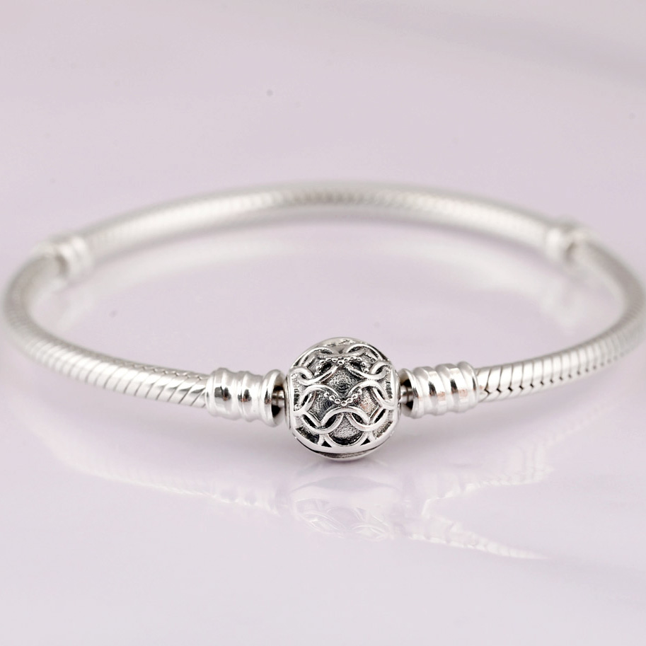 New Lacework Pattern Of Love Clasp Snake Chain Bracelet Bangle Fit Bead Charm Diy Pandora Jewelry 925 Sterling Silver Bracelet купить в Москве 2019