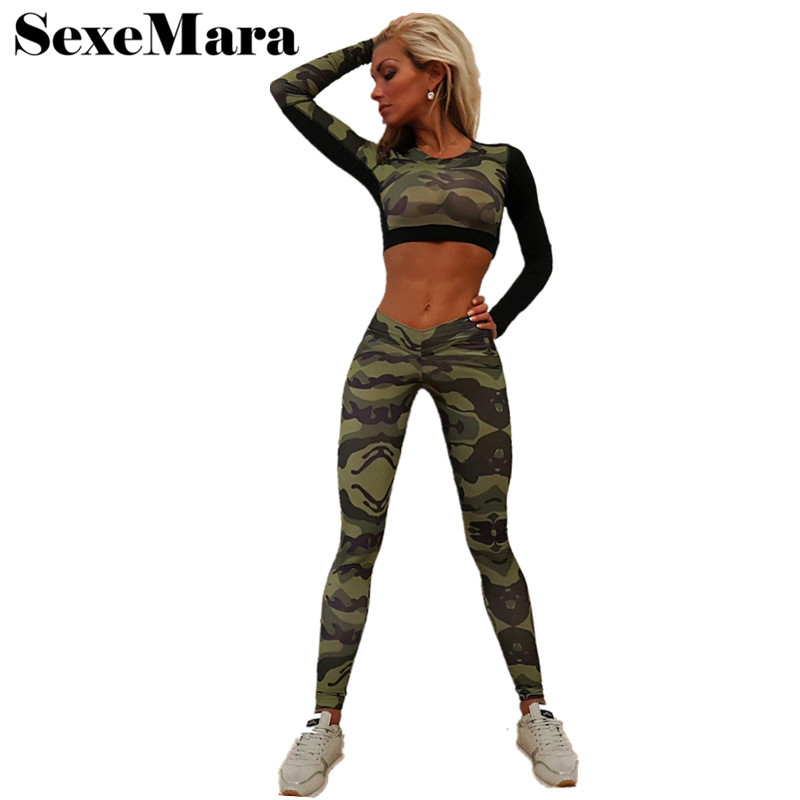 Camouflage Track Suit Women Two Piece Outfits 2017 Spring and Summer Woman Pant Suits Casual Overalls Leggings Set D34-AC33 ...
