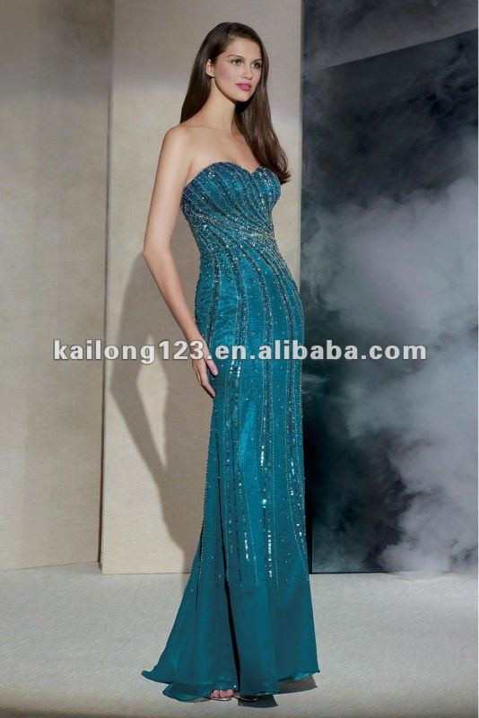 Classic Sweetheart Trumpet Skirt Gown Teal Floor length Beaded ...