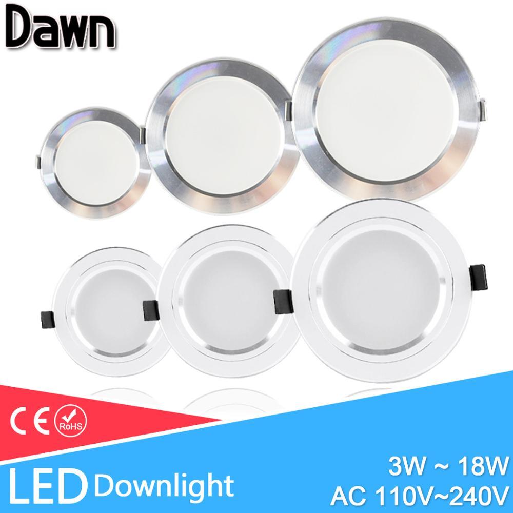 LED بقعة ضوء 5 واط 9 واط 15 واط 18 واط الفضة الأبيض رقيقة جدا التيار المتناوب 110 فولت 220 فولت جولة راحة LED النازل LED بقعة الإضاءة 12 واط