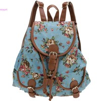 2014 New Shoulder Bags Women S Vintage Casual Charming Backpack School Rucksack Floral Print Canvas Bags