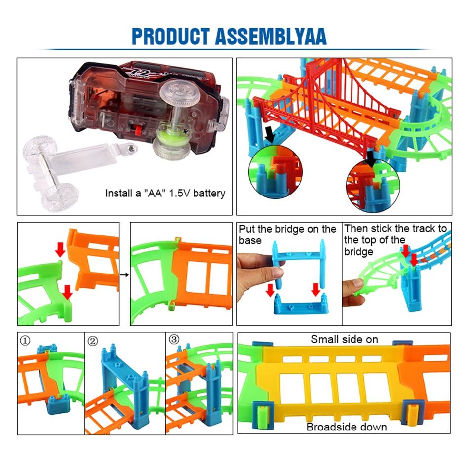Eisenbahn Rennstrecke Spiel Set pädagogische DIY Biegung flexible - Druckguss- und Spielzeugfahrzeuge - Foto 4
