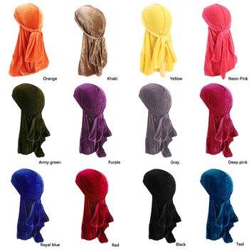 Wholesale Unisex Men Women Breathable Bandana Hat velvet Durag do doo du rag long tail headwrap chemo cap