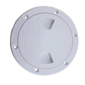 """Image 4 - Plastic Round 4"""" 6"""" 8"""" Marine Boat RV Hatch Cover White Screw Out Deck Inspection Plate"""