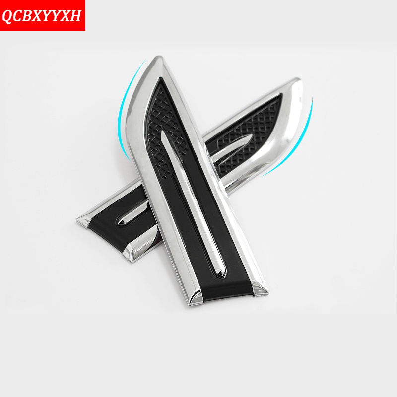 Car Styling 1 Pair ABS Chrome Car Side Modified Waterproof Shark Gills Simulation Leaf Plate Decoration Sticker Auto Accessories car styling abs chrome body side moldings side door decoration for hyundai ix35